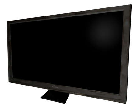 dvi: Black modern flat screen TFT television with blank space Stock Photo