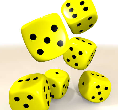 six yellow casino dice flying through the air Stock Photo - 6648331