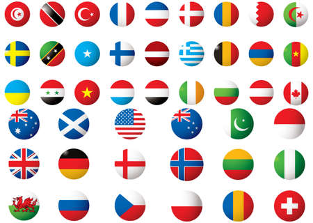 circular flags of the world on a white background  photo