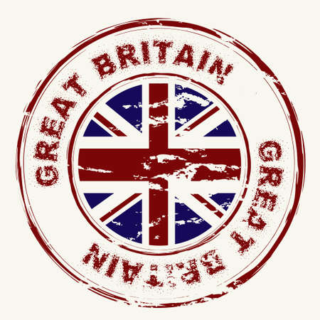 union jack flag: Great britain grunge ink rubber stamp with union flag