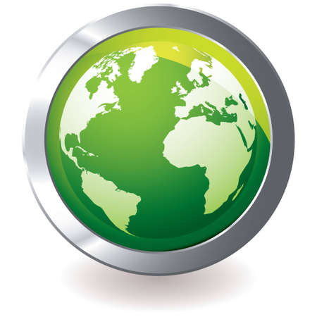 bevel: Green earth globe icon with silver metal bevel and shadow Stock Photo