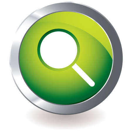 bevel: green icon with silver metal bevel and magnifying glass symbol