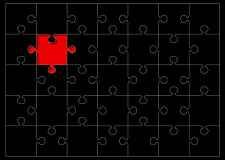 missing piece: Black jigsaw puzzle with red missing piece and white outline