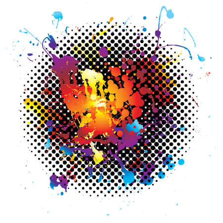 ink blot: ink splat background with rainbow grunge effect on a white background