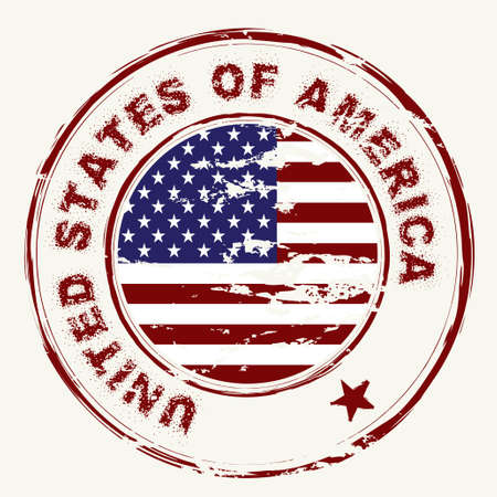 grunge american flag with rubber stamp and worn effect Standard-Bild