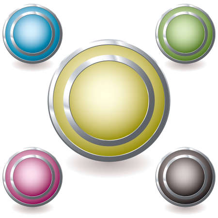 five web icons with silver metal bevel and drop shadow photo