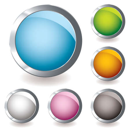 six round web icon button with bright colours and shadow Stock Photo - 6676324