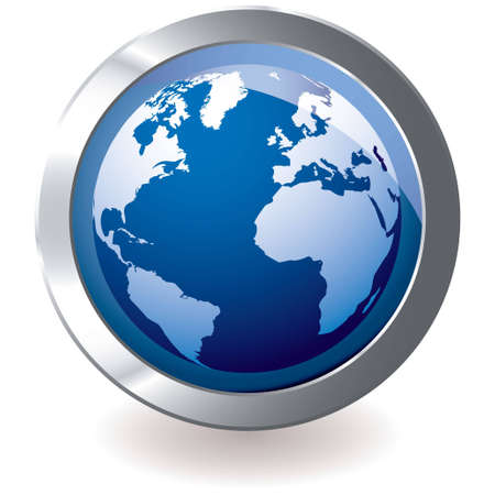 Blue earth globe with silver metal icon and drop shadow photo