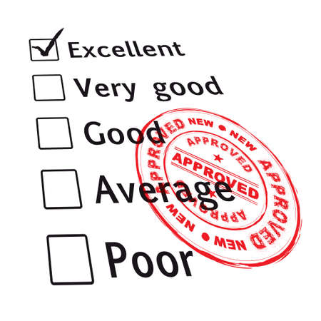 excellent: passed your business evaluation with excellent grade and ink stamp Stock Photo