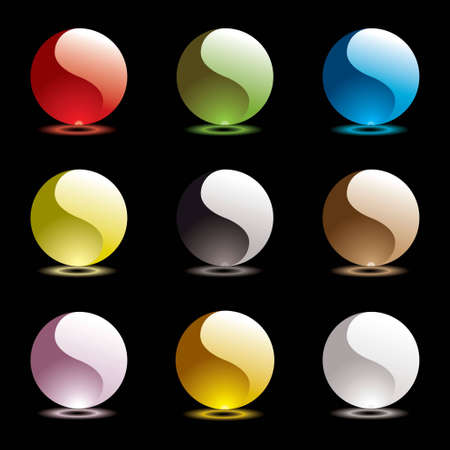 nine ying yang web round icons with outer glow in bright colors Stock Photo - 6708042