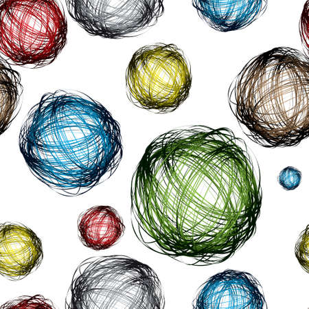 pencil scribble balls with different colors and seamless background pattern photo