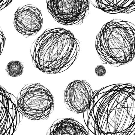 black pencil scribble ball with seamless pattern background photo