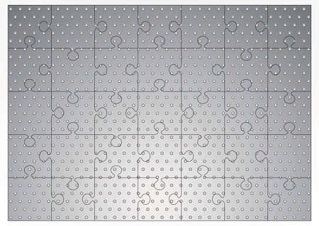 Silver metal background with holes punched and jigsaw puzzle concept Stock Photo - 6708048