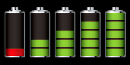 Battery charge showing stages of power running low and full