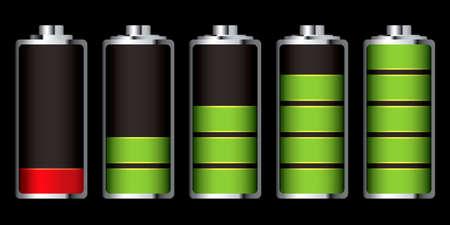 bater�a: Mostrando las etapas de potencia que se ejecutan bajo y completa la carga de bater�a  Foto de archivo