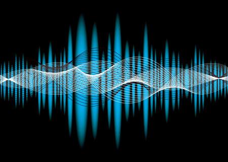 Fondo abstracto de ecualizador de música azul con efecto de onda Foto de archivo