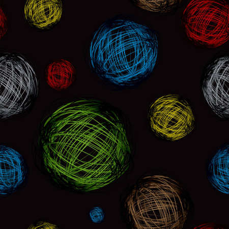 Brightly coloured scribble calls with black seamless background photo