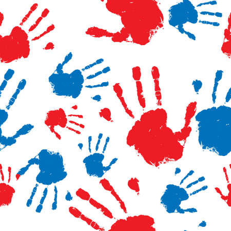 grunge hand prints in red and blue seamless pattern background Stock Photo - 6826681