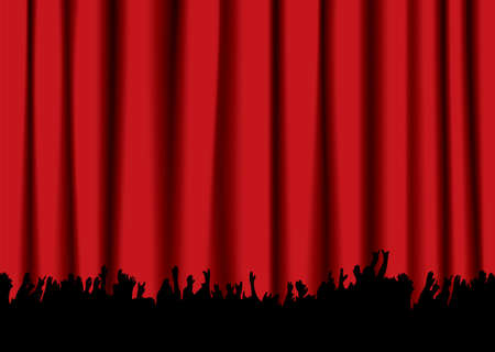 Red velvet concert stage curtain and silhouette of crowd hands Stock Photo - 6856971