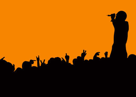 Crowd silhouette at music concert with artist singing with orange background Stock Photo - 6856970