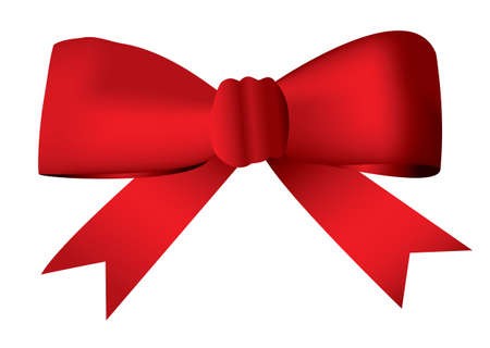 with loops: Red ribbon bow tied in a knot ideal present and gift concept