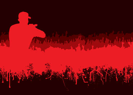 Rock or music concert crowd in silhouette with grunge ink blood effect Stock Photo - 6856963