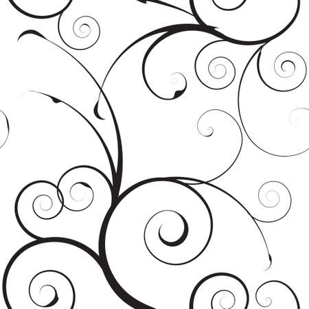 Black and white seamless floral simple background pattern Stock Photo