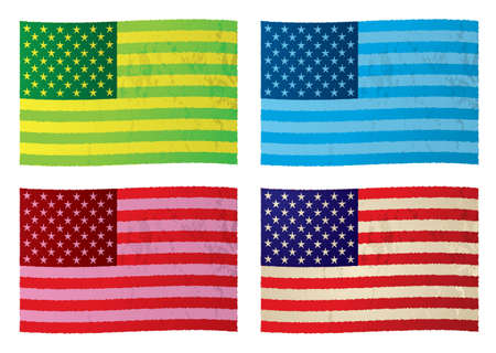 Collection of grunge flags with color variation and stars n stripes photo