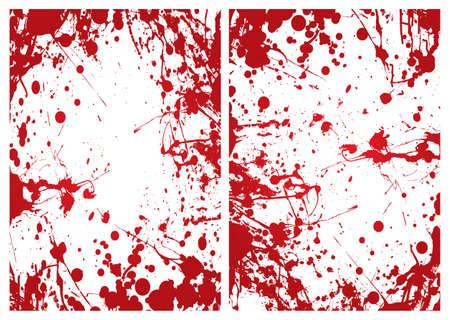 spatters: Red grunge inchiostro tempra sangue confine o cornice di sfondo