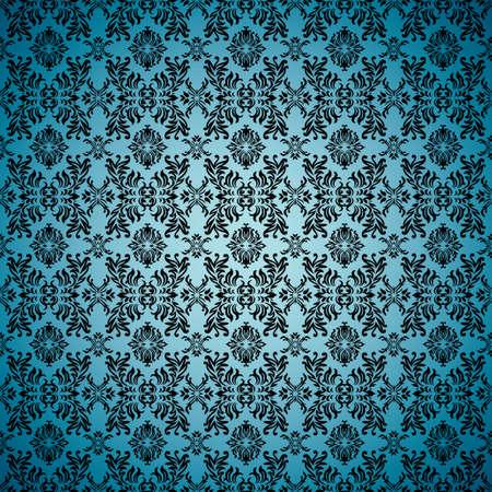 antiek behang: Blue naadloze Wall paper achtergrond met tegel gotische patroon