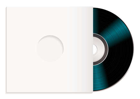 cdr: Black music record with white cover or sleeve