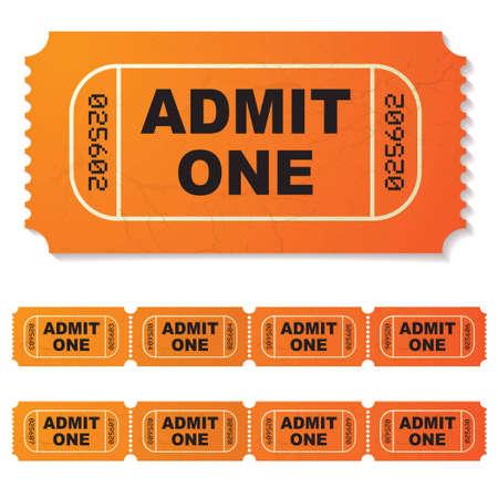 movie ticket: orange illustrated admit one paper ticket