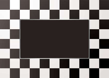 bevel: Black and white checkered picture frame with silver bevel