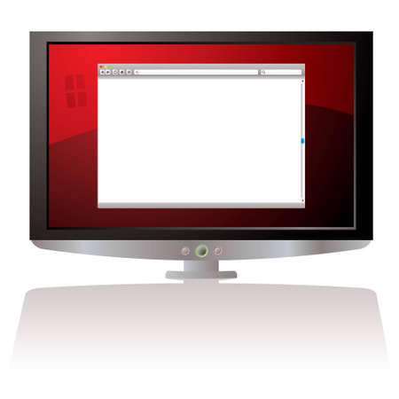 LCD Monitor with red background and web browser Stock Photo - 7123957