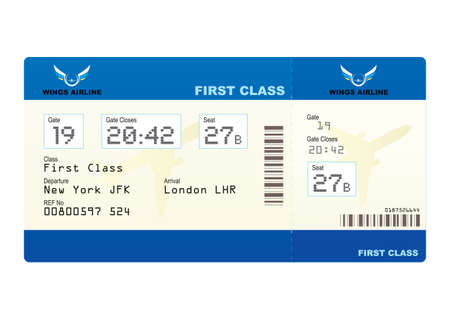 first class: First class boarding pass or plane ticket with destination