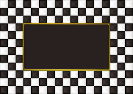Black and white checkered picture frame with gold trim photo