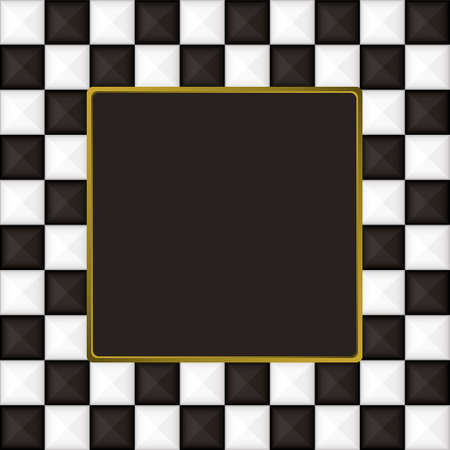 checker: black and white square checkered picture frame or border