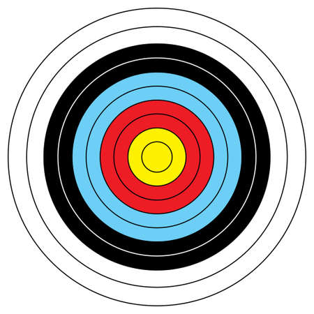 aim: Illustrated archery target icon with colored bands and outline