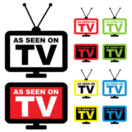lcd display: Collection of as seen on TV icon with television aerial