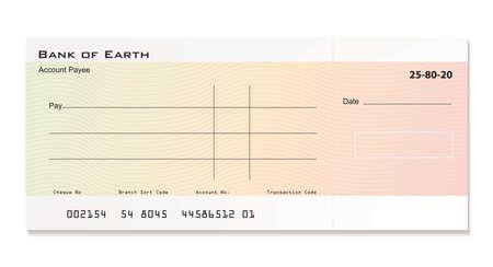 cheque en blanco: Cheque de Banco ilustrada con espacio para los detalles de su propia
