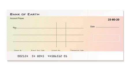 Illustrated bank cheque with room for your own details Standard-Bild