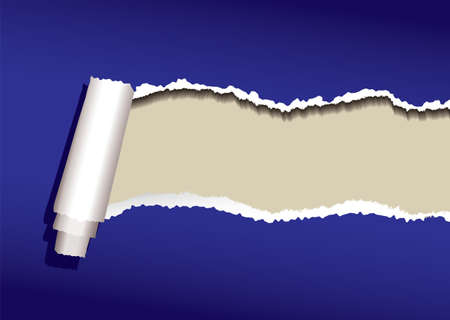 Blue paper background with torn edges and roll and shadow Stock Photo - 7223416