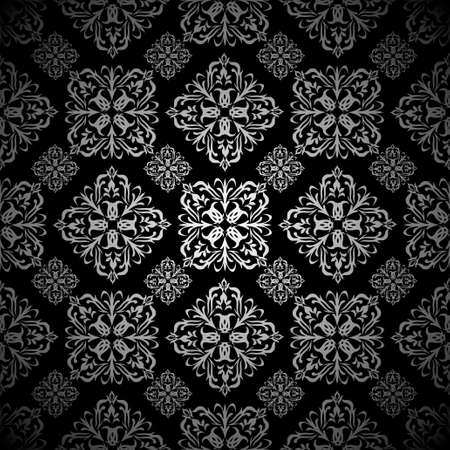 silver silk: Silver and black seamless tile background wallpaper pattern