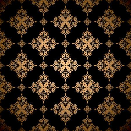 Gold floral abstract seamless wallpaper pattern background Standard-Bild