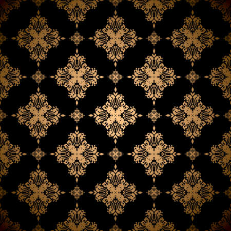 Gold floral abstract seamless wallpaper pattern background