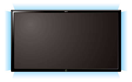 Modern lcd flat screen television with blue outer glow Stock Photo - 7223414