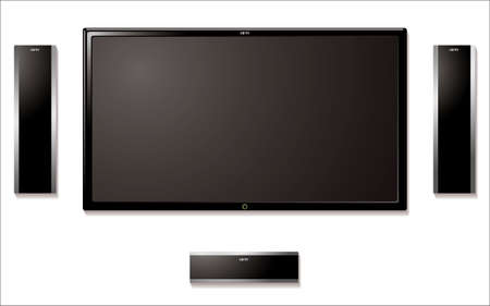 fullhd: Modern flat screen tft television with surround sound speakers