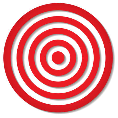 bullseye: red target icon with drop shadow in circular design