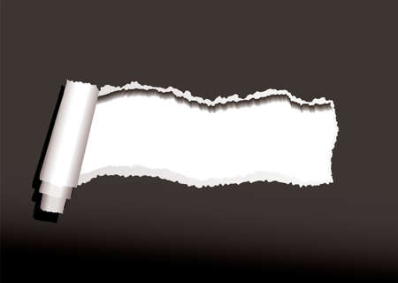 Black paper background with torn or ripped edges and roll Standard-Bild