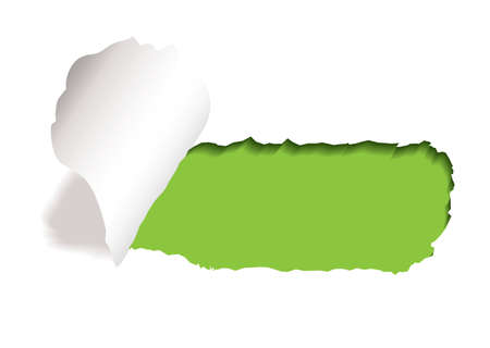 torn edge: green background with paper tear and curl of torn edge Stock Photo